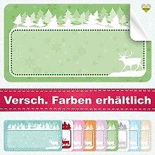 20 Aufkleber / Etiketten / Sticker | Winterlandschaft mit Rentier | Rechteckig | 66 x 35 mm | Pastel-Grün | C00037-04 | Ohne Beschriftung! | CuteLove & Head-Bea