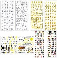 20 Blätter Buchstaben- und Zahlen-Aufkleber,
