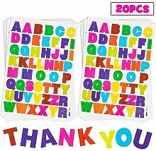 20 Blatt Alphabet-Buchstaben-Aufkleber, 10 Farben,