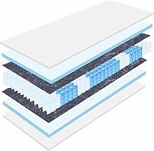 """20 cm hohe orthopädische 7-Zonen Tonnentaschenfederkernmatratze """"Köln"""" Bezug waschbar, 60°C (100 x 200 cm, H3)"""