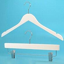 20 Holz Kleiderbügel für Oberbekleidung und 10 Clip-Kleiderbügel im Set - Weiß - Hangerworld