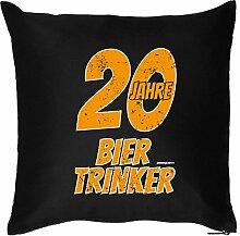 20 JAHRE BIER TRINKER : Kissen mit Füllung - Witziges Zusatzkissen, Kuschelkissen, 40x40 als Geschenkidee. Schwarz