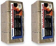 20 kg Briketts Brennstoffe Weichholzbriketts 2x10