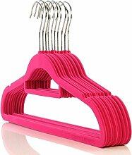 20 Kleiderbügel pink mit Samt beflockt und Steg ca. 45 cm - rutschfester Kleiderbügel Hangerworld
