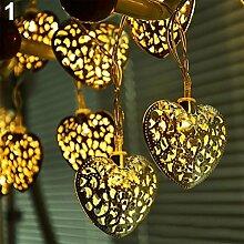 20 LEDs, batteriebetrieben, filigran, Metall, Herz-Lichterkette, für Hochzeiten, Partys und Weihnachten Dekoration Golden Ligh