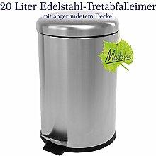 20 Liter Edelstahl Mülleimer, mattierter Tret- Abfalleimer mit abgerundetem Deckel, original Made for us®
