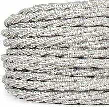 20 Meter   Textilkabel für Lampe, Stoffkabel, 3-adrig (3x0,75mm²)   Made in Europe   verseilt, geflochten, Silber