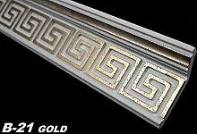 20 Meter Zierprofile Eckleisten Styropor Stuckdekor 28x73mm, B-21 GOLD