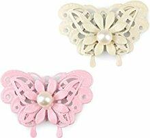 20 Pastel Metallschmetterlinge mit Perle 2fach Metall ,creme-rosa ca. H:4cm/B:6cm
