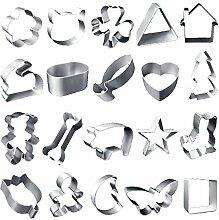 20 PC-Aluminium-Legierung Metall-Biskuit-Plätzchen-Kuchen Brot Schimmel Cutter Set Kochen Backen Küchenaccessoires Zufall Stil