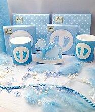 20 Personen Dekoset zur Taufe Blau Baby Junge Geburt Shower Tischdeko Dekoration Feier Geburtstag Komplettse