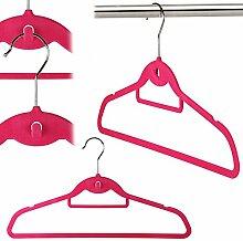 20 Samt beflockte, rutschfeste Kleiderbügel mit Hosensteg und stufenförmig aufhängbar - 45cm - pink - Hangerworld