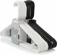 20 Schwarz-Weiße Kunststoff Kleiderbügel mit Hosensteg - 42cm - Hangerworld