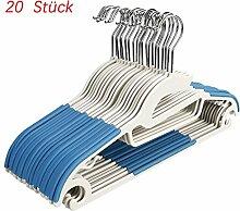 20 Stück Antirutsch Kleiderbügel Rutschfester Kunststoff Platzsparend Aufhänger für Anzug/Hemd/Hose Blau
