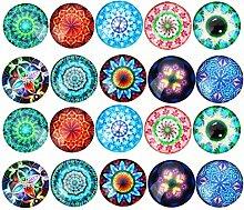 20 Stück Gemischte Bunt Runde Mosaik Kuppel Glas