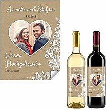 20 x Flaschenetikett Hochzeit Aufkleber Etikett