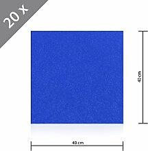 20 x HSM Teppichfliese Nadelfilz Bodenbelag selbstklebend für Treppe, Kinderzimmer oder Küche 40cm x 40cm BLAU