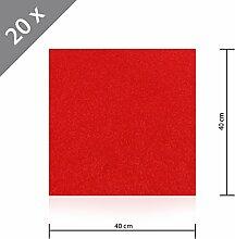 20 x HSM Teppichfliese Nadelfilz Bodenbelag selbstklebend für Treppe, Kinderzimmer oder Küche 40cm x 40cm ROT