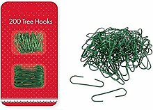 200 Tree Hooks Green Wire Christmas Ornaments Hangers Decorations Home Party Ball Bauble Outdoor Festive Clip by Concept4u