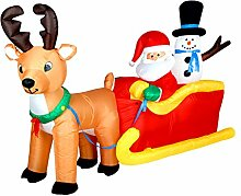 200cm Weihnachtsmann und Schneemann auf Schlitten