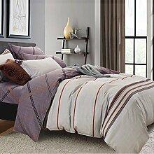 200TC Simple Baumwolle Geometrische Muster Eine vierköpfige Familie(1Bettbezug 1Blatt 2Kissen)-V Queen2