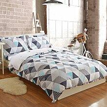200TC Simple Baumwolle Geometrische Muster Eine vierköpfige Familie(1Bettbezug 1Blatt 2Kissen)-B Queen2
