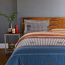 200TC Simple Baumwolle Streifen Eine vierköpfige Familie(1Bettbezug 1Blatt 2Kissen)-K Queen2
