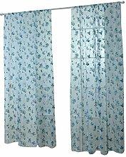 200x100cm Blumendruck Fenstervorhang Tür Flowerlet Voile Vorhang Stoffbahn - Blau