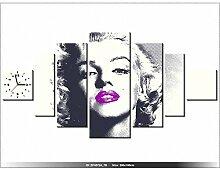 200x100cm - Leinwandbild mit Wanduhr - Moderne Dekoration - Holzrahmen - Marilyn Monroe mit lila Lippen