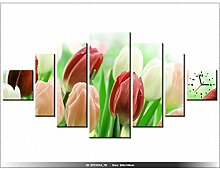 200x100cm - Leinwandbild mit Wanduhr - Moderne Dekoration - Holzrahmen - rote-Tulpen, Tulpen-in-Sonne, frische-Tulpen, bunte Tul