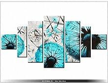 200x100cm - Leinwandbild mit Wanduhr - Moderne Dekoration - Holzrahmen - Löwenzahn, Abstrakt, Fliegen, Luft, Samen, Löwenzahn -