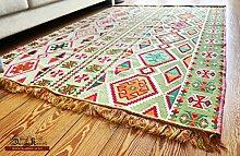 200x135 cm Orientalischer Teppich , Kelim,Kilim ,Carpet ,Bodenmatte ,Bodenbelag ,Rug Neu aus Damaskunst S 1-4-46