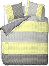 200x200 cm Bettwäsche mit 2 Kissenbezügen 80x80 Bettbezüge Bettbezug Bettwäsche-Set 100% Baumwolle Öko-Tex Standard 100 kariert 60 Grad waschbar Diamond Mojito gelb grau stahl
