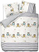 200x220 cm Bettwäsche mit 2 Kissenbezügen 80x80 Bettbezüge Bettbezug Bettwäsche-Set 100% Baumwolle Öko-Tex Standard 100 Eulen Streifen 60 Grad waschbar Diamond Cute Owls bunt grau beige blau orange braun