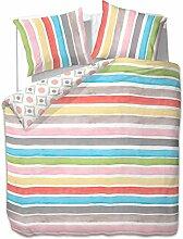 200x220 cm Bettwäsche mit 2 Kissenbezügen 80x80 Bettbezüge Bettbezug Bettwäsche-Set 100% Baumwolle Öko-Tex Standard 100 Streifen Regenbogen 60 Grad waschbar Diamond Rainbow bunt blau gelb rosa grün braun rot grau