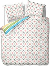 200x220 cm Bettwäsche mit 2 Kissenbezügen 80x80 Bettbezüge Bettbezug Bettwäsche-Set 100% Baumwolle Öko-Tex Standard 100 geometrisches Muster 60 Grad waschbar Diamond Carreau bunt blau gelb rosa grün braun rot grau weiß