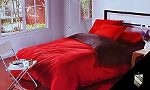 200x220 rot + schoko Bettwäsche Bettbezüge Bettwäschegarnituren mit einem Spannbettlaken 100% Baumwollsatin pflegeleicht red + choco D4