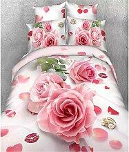 2016 Boutique 3D Druckt?tigkeit Satz der vier Baumwollbettw?sche violette Bl¨¹te Rose , Rose , 200*230cm