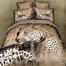 2016 Boutique vierk?pfige Baumwolle Bettw?sche Leopard print 3D Aktivit?t M?we stieg Entw¨¹rfe , Leopard , 180*200cm