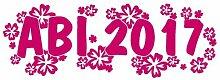 2017 Abiaufkleber Hibiskusblüten Abitur Aufkleber in 7 Größen und 25 Farben (50x16,7cm pink)