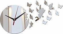2017 Angebot diy Wandaufklebern Uhr moderne Möbel Uhren acryl Spiegel Schmetterling Aufkleber Dekoration Wohnzimmer, gold