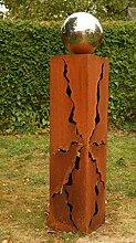 2017 Frühjahr Rostsäulen 60cm schöne Gartendeko Skulptur mit Edelstahlkugel