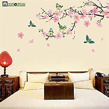 2017 Große elegante Blume Wand Aufkleber anmutige Peach Blossom Vögel Wandaufklebern Einrichtung romantische Wohnzimmer Dekoration
