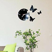 2017 Heiße Spiegel Wand Sticker 3d Acryl Europa Aufkleber Home Decor Poster Küche Schmetterling Pferd große Wanduhr, 001