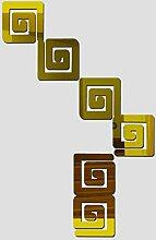 2017 Hot Wall Sticker Acryl 3d Aufkleber vinilos Paredes diy Spiegel Sticker Modern Living Wall Kunst Zimmer, Gold