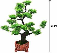 "2018 JIAN-PLA Künstliche Bonsai Baum Pflanze für Büro Zuhause Dekoration, Feng Shui Deko,Japanischer Pinien,Höhe ca.13.39""/34 cm (Grün), Green, 30"