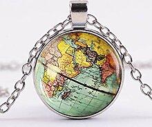 2018Hot! Halskette mit Anhänger Weltkarte