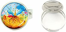 2019 Damen Ring/Ring aus Glas, rund,