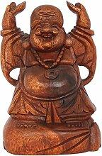 20cm Happy Buddha Holz Glücksbringer Stehend