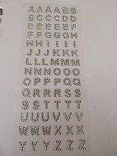 20cm x 8cm Gel Strass körper kunst sticker (84 pro blatt) tattoos alphabet briefe vajazzle aufkleber Sticker für Craft Kinder Schrott Bücher Karten Handy handys - silber strassstein